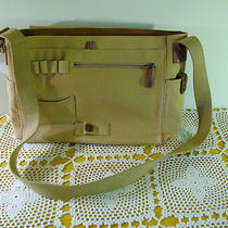 Fossil Messenger Bag Laptop Bag No. 054 Khaki Canvas With Leather Trim Photo