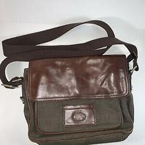 Fossil Messenger Bag Leather & Canvas Crossbody Shoulder Bookbag 12x9 Photo