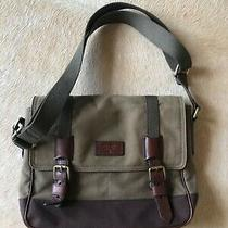 Fossil Messenger Bag Olive Green Brown Canvas Leather Accents Laptop Bag Photo