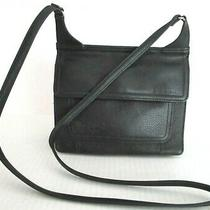 Fossil Messenger Crossbody Bag Black Pebble Leather Two Section Purse Photo