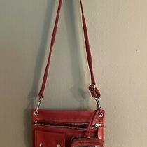 Fossil Messenger Sutter Red Leather Handbag Crossbody Purse Photo