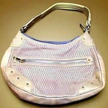 Fossil Metallic Blue Lilac Purple Leather Studded Perforated Hobo Purse Handbag Photo