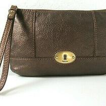 Fossil - Metallic  Bronze Pebbled Leather Zip Clutch Wristlet Handbag Purse Photo