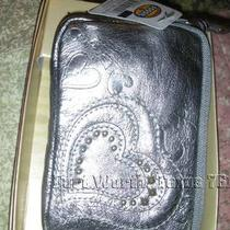 Fossil Metallic Pewter Leather Zip Pouch 3.25 X 5 X 1/2 Photo