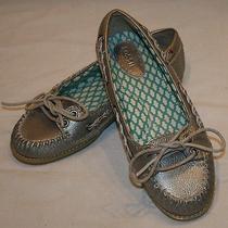 Fossil Metallic Pewter Slip on Ballet Flat Shoes 6.5 Womens Flats Photo