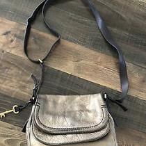 Fossil Metallic Peyton Double Flap Crossbody Purse Bag Photo