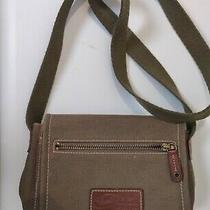 Fossil Military Olive Green Canvas Brown Leather Flap Crossbody Bag  Photo