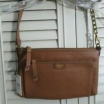 Fossil Mimi Top Zipper Leather Cluth Camel Clutch Handbag Shb1138235 Photo