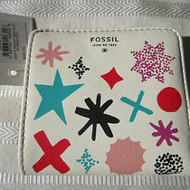 Fossil Mini Bi-Fold Wallet New W/tags White Starburst Photo