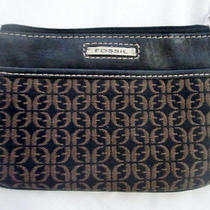 Fossil Mini Jacquard Canvas Leather Wristlet Change Purse Wallet Clutch Brown S Photo