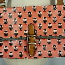 Fossil Mini Keyper Crossbody Bag Purse Coated Canvas Owl Print Dusty Rose Photo
