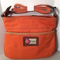 Fossil Mini Orange Cross Body Canvas Bag - New Photo