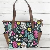 Fossil Mini Shopper Tote Shoulder Bag Zip Top Floral Teal Pink Yellow Black New Photo