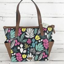 Fossil Mini Shopper Tote Shoulder Bag Zip Top Floral Teal Pink Yellow Black  Photo
