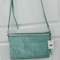 Fossil Mint Green Leather Crossbody Purse Handbag Built in Wallet Nwt Photo