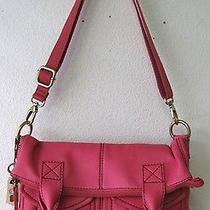 Fossil Modern Cargo Leather Foldover Tote Fuchsia Pink Shb4524690 Nwt Photo
