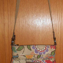 Fossil Modern Vintage Canvas Floral Decor Cross Body Handbagpurse - Euc Photo