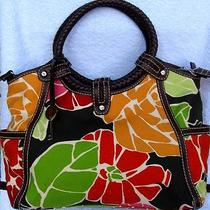 Fossil Modern Vintage Canvas With Floral Print and Dark Brown Trim Handbag  Photo