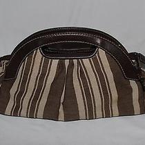 Fossil Modern Vintage Leather & Fabric Textured Handbag Small Brown Stripes  Photo