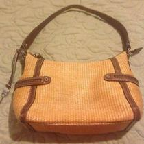 Fossil Modern Vintage Staw Handbag Summer Beach Tan Leather Trim Photo