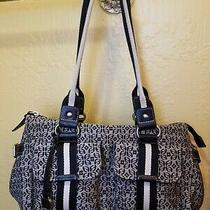 Fossil Monogram Canvas Leather Trim Shoulder Bag Purse  Photo