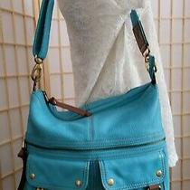 Fossil Morgan Large Turquoise Leather Crossbody Messenger Shoulder Bag Euc Photo