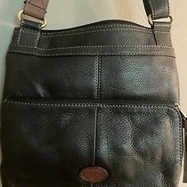 Fossil Morgan Traveler Black Leather Handbag Crossbody Purse Photo