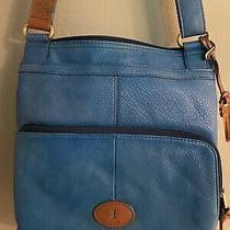 Fossil Morgan Traveler Blue Leather Handbag Crossbody Purse Photo