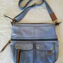 Fossil Morgan Traveler Blue Pebbled Leather Crossbody Messenger Bag Euc Photo