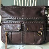 Fossil Morgan Traveler Brown Leather Messenger Crossbody Shoulder Bag Large Photo