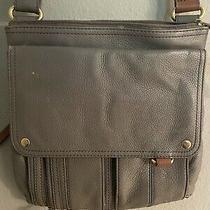 Fossil Morgan Traveler Gray Leather Handbag Crossbody Purse Photo