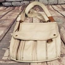 Fossil Morgan Traveler White Pebbled Leather Cross-Body Tote Purse Bag Photo