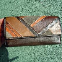 Fossil Multi Brown Leather Id Coin Credit Cards Check Book   Wallet  Photo