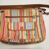 Fossil Multi Color Canvas Cross Body Messenger Shoulder Bag Handbag Jg2 Photo