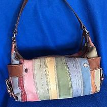 Fossil Multi Color Castille Patch Work Leather & Suede Handbag  Great Condition Photo