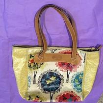 Fossil Multi-Color Coated Canvas Oilcloth Key Per Birds Trees Tote Purse Bag Photo