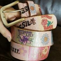 Fossil Multi-Color Floral Pattern Leather Belt Women's Size Large Bt2830650 Photo