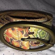 Fossil Multi-Color Floral Pattern Leather Belt Women's Size M 39