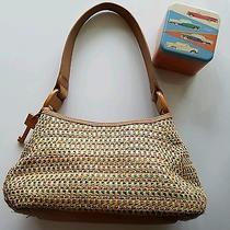 Fossil Multi Color Handbag Wood Key Accents Brown Leather Bonus Tin Photo