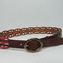 Fossil Multi-Color Leather Braided Belt Size M Nwot Photo