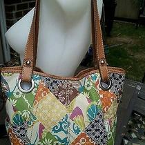 Fossil Multi-Color Painted Leather Satchel Style Shoulder Bag With Brown Trim Photo