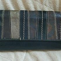 Fossil Multi Color Patch Work Check Book Trifold Fold Wallet Photo