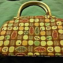 Fossil Multi-Color Squares Tote W/bamboo Handles & Wooden Key Tote Handbag Purse Photo