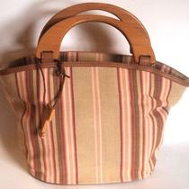 Fossil Multi-Color Stripe Canvas Wood Handle Faux Leather Tote Hand-Bag Purse  Photo