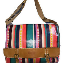 Fossil Multi-Color Stripe Coated Canvas Flap Xl Crossbody Messenger Shb1097 New Photo