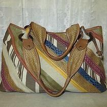 Fossil Multi Color Stripe Leather Fabric Xxlg Shoulder Tote Bag Satchel Purse   Photo