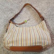 Fossil Multi-Color Woven Handbag W/ Brown Leather Trim Magnetic Snap Closure Photo