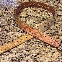 Fossil Multi-Colored Browns Patchwork Leather Belt Sz L Photo