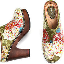 Fossil Multi-Colored Soft Leather Floral Wood Heel Platform Mules Shoes Sz 5.5 Photo