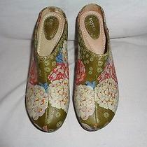 Fossil Multi-Colored Soft Leather Floral Wood Heel Platform Mules Sz 9 Photo